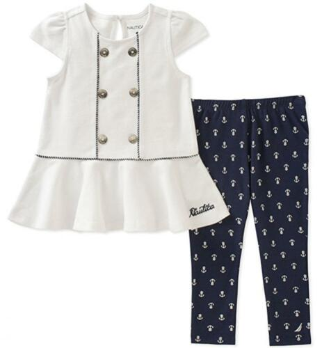 Nautica Infant Girls Cap Sleeve Tunic 2pc Legging Set Size 12M 18M 24M $50