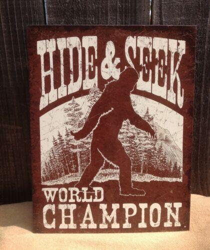 Hide and Seek World Champion Sign Tin Metal Wall Garage Rustic