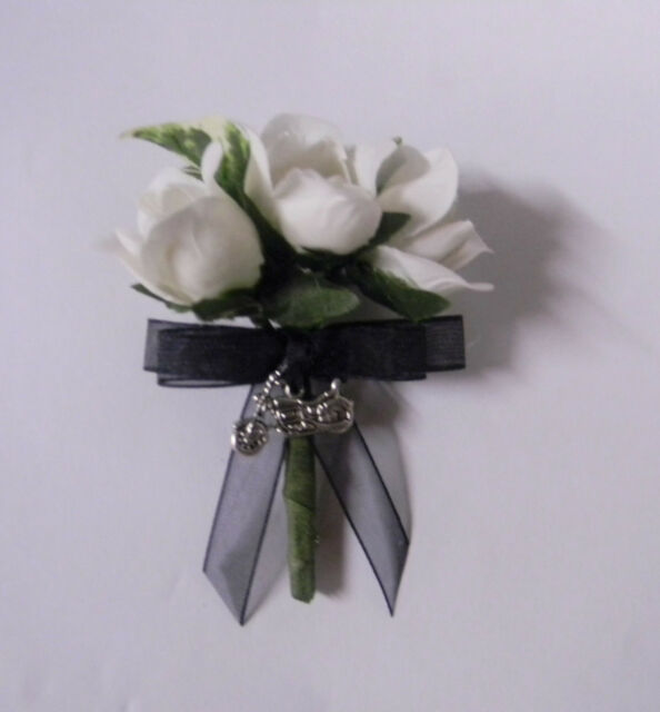 Wedding Party Ceremony Motorcycle Biker Groom's Boutonniere Silk Roses Black Bow