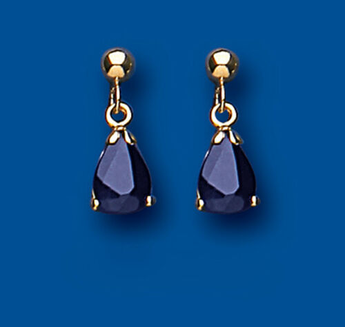 Solid Gold Sapphire Earrings Drops Claw Set Natural Stone Drop Ears