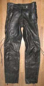 schwere Damen- SCHNÜR- LEDERJEANS / Biker- Lederhose in schwarz in ca. Gr. 38/40