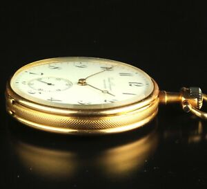 Girard-Perregaux-Chaux-De-Fonds-18K-Gold-Open-Face-Pocket-Watch-46mm-Ca-1900