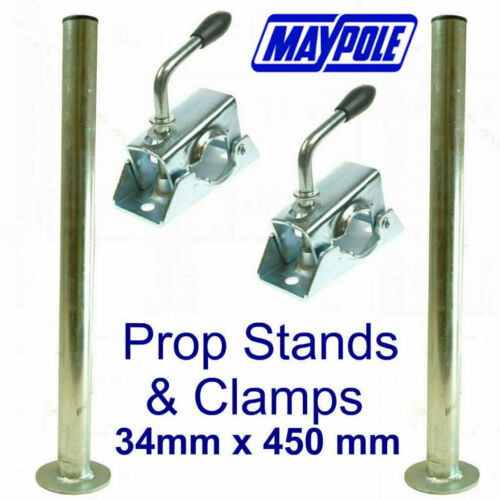 PAIR Maypole Trailer Prop Stands /& Clamps MP220 MP222 Trailer Tow Bar Tow Ball