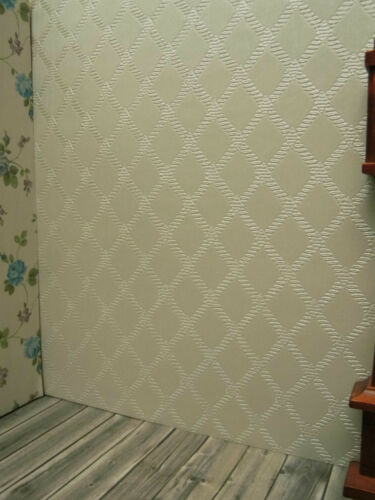 Edle Präge-TAPETE,cremefarbenes Rautenmuster,schön für Puppenstube,30cmx53