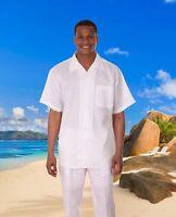 Men's 2pc Linen Walking Suit Short Sleeve Casual Shirt & Pants Set Solid Color