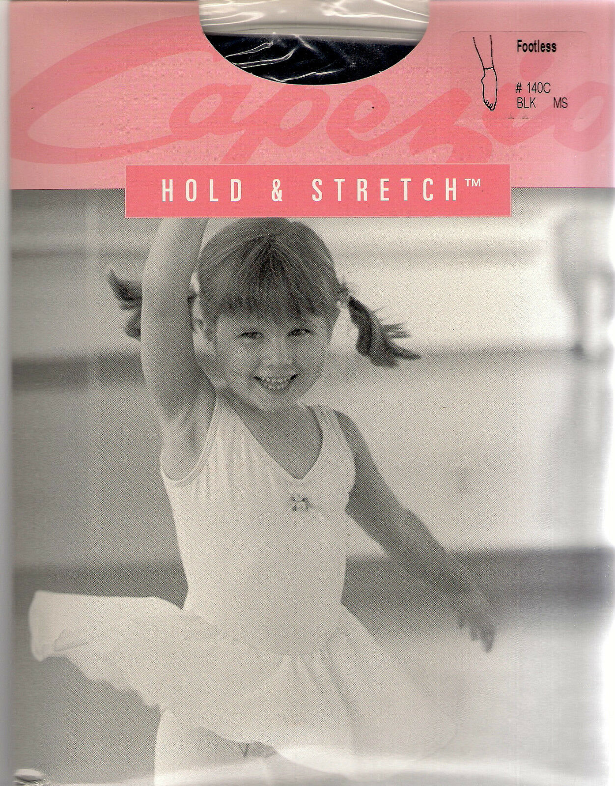 Capezio 140C Girl/'s Medium//Small Black Hold and Stretch Footless Tights