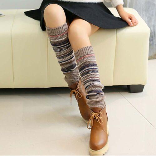 Women Girls Winter Soft Boot Long Socks Knit Crochet Leg Warmer Legging Stocking