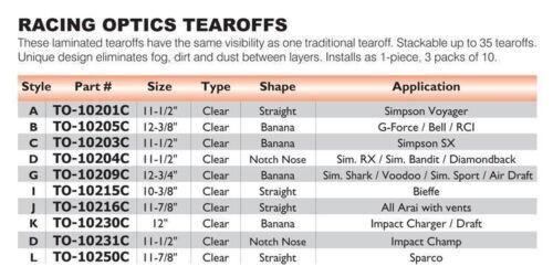Racing Optics Laminated Helmet Tear Offs 3 Sleeves of 10 10231C Impact IMCA NEW