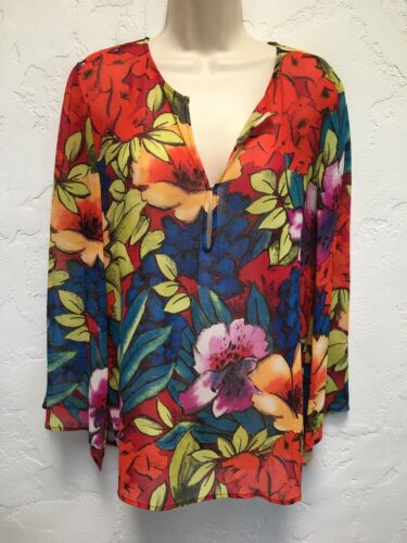 Chico's 1 M Sheer Floral Silk Long Sleeve Tunic To