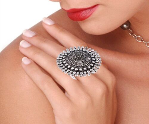 Oxidized Silver Plated Handmade Bollywood Style Adjustable Ring women Best Gift