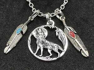 """Native American Wolf Circle & Feathers Charm Tibetan Silver 18"""" Necklace D176"""