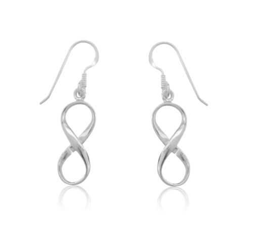 Sterling Silver Infinity Dangle Kidney Wire Earrings 35mm