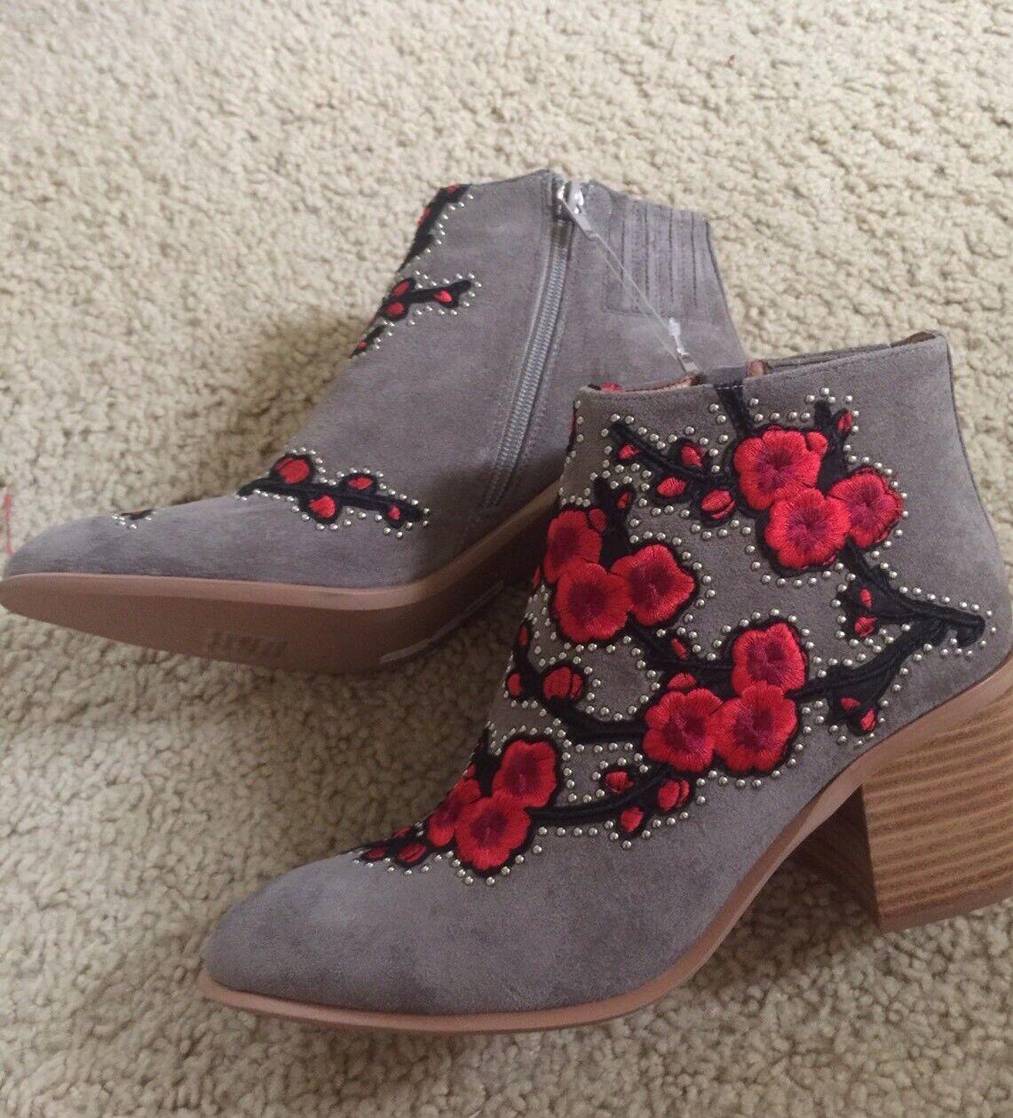 Jeffrey Campbell Camoscio brown Fiore di Ciliegio Ricamato Stivali Caviglia