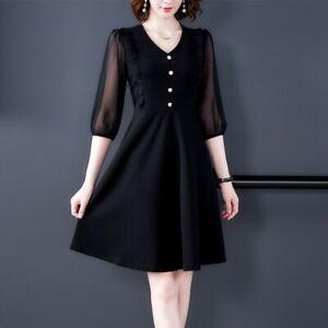 D91011 Retro V-neck Lantern 3//4Sleeve Dress Woman buttons Slim Short Dress S-L