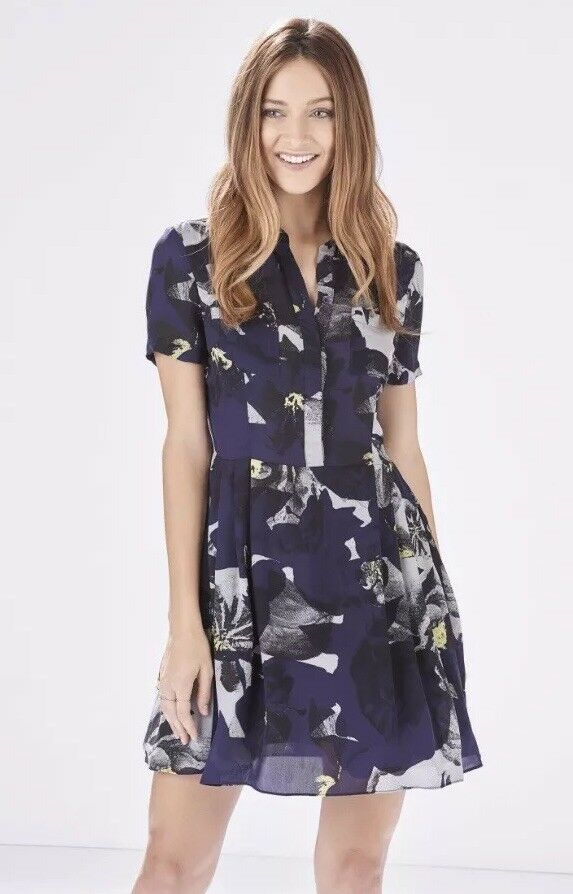 Parker Womens Size S Small Kelby Short Sleeve Silk Dress Floral bluee