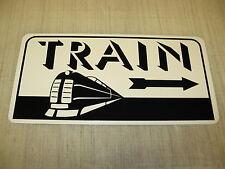 TRAIN ART DECO Metal Sign w/ Arrow Model Train Engine Vintage Style Retro Design