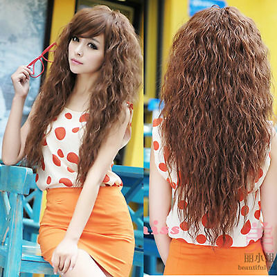 New Womens Ladies Sexy Long Full Curly Wavy Hair Wigs Cosplay Party 3 Colors