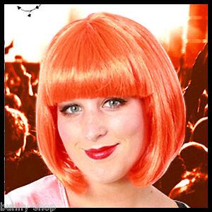 Orange-Ponnyperuecke-Bob-Peruecke-mit-Pony-Bobline-fuer-Karneval-Fasching-COSPLAY