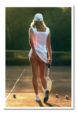 Classic Tennis Girl Poster Silver Framed Ready To Hang Frame Free P/&P