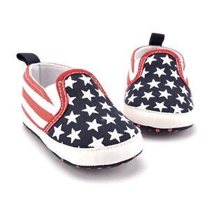 New Baby Boys Us Flag Patriotic 4th Of July Slip On