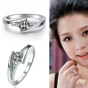 Frauen-versilbert-Ring-Kristall-Diamant-Zirkon-Ehering-Schmuck-Geschenk-ddn-K6N9