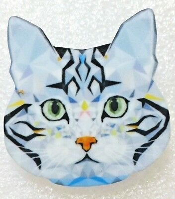 Teal Acrylic Cat Brooch
