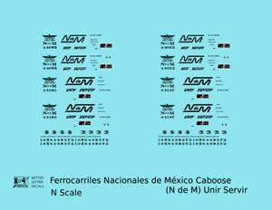 K4-N-Decals-Ferrocarriles-Nacionales-De-Mexico-Caboose-Black-NDEM-Unir-Servir