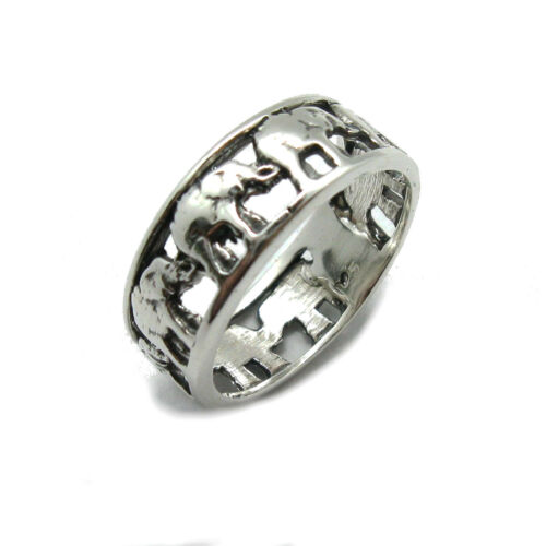 Genuine sterling silver ring solid hallmarked 925 Elephants band R001824