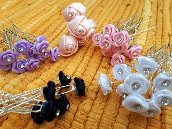 Lotto 43 Pz In Tessuto Rosa E Diamante Centro Capelli Pin Grip Da Sposa/nozze/prom-/prom Una Grande Varietà Di Modelli