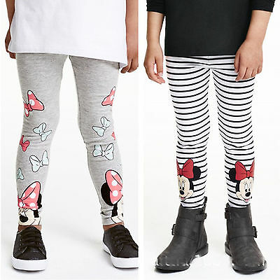 Kids Minnie Mouse Girl Leggings Striped Thick Stretch Pants Winter Warm Trousers