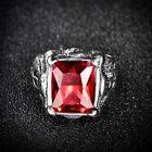 Men's High Quality Stainless Steel Princess Red Garnet Gemstone Signet Band Ring