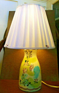 Vintage-Stiffel-Table-Lamp-Shade-Ceramic-Floral-Flowers-Girl-Shabby-Chic-Cottage