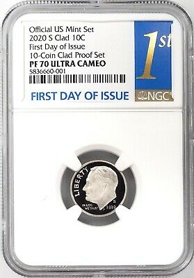 2019 S Proof 10C Clad Roosevelt Dime NGC PF69 ULTRA CAMEO FR in 10-coin-set