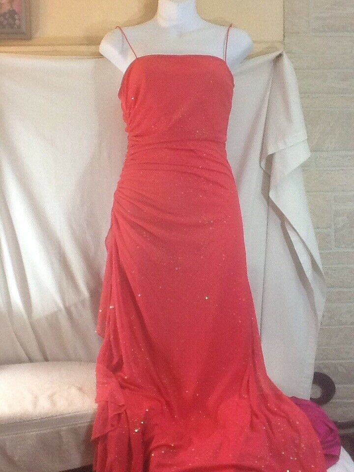 Woman's Sz Med CITY TRIANGLES Coral Color Spaghetti Straps Long Formal Dress
