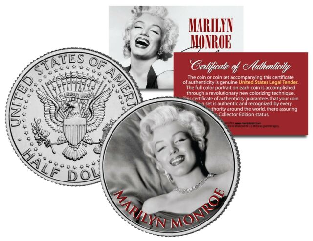 c2abe8db4 Marilyn Monroe Black   White Portrait JFK Kennedy Half Dollar Licensed US  Coin for sale online