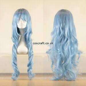 80cm-Lange-Wellig-Curly-Cosplay-Peruecke-in-Baby-hellblau-UK-Verkaeufer-Jeri-Style