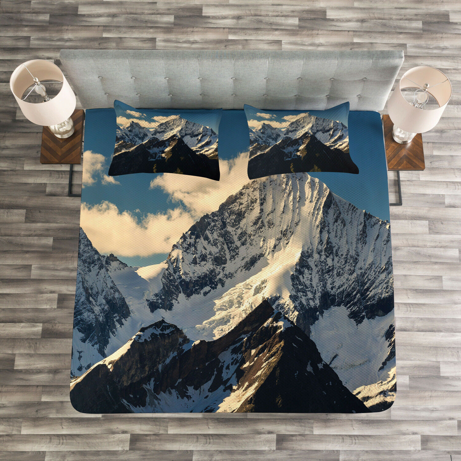 Nature Quilted Bedspread & Pillow Shams Set, View of Alps Mountain Print