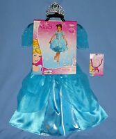 Disney Princess Cinderella Costume Dress-sparkle;girls 4-6x;7-8;tiara;necklace