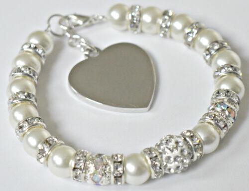 Personalised Mother of Bride Wedding Bridal Engraved Heart Charm Bracelet Gift