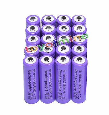 20pcs AA 2A 3000mAh Ni-MH Recharge Rechargeable Battery