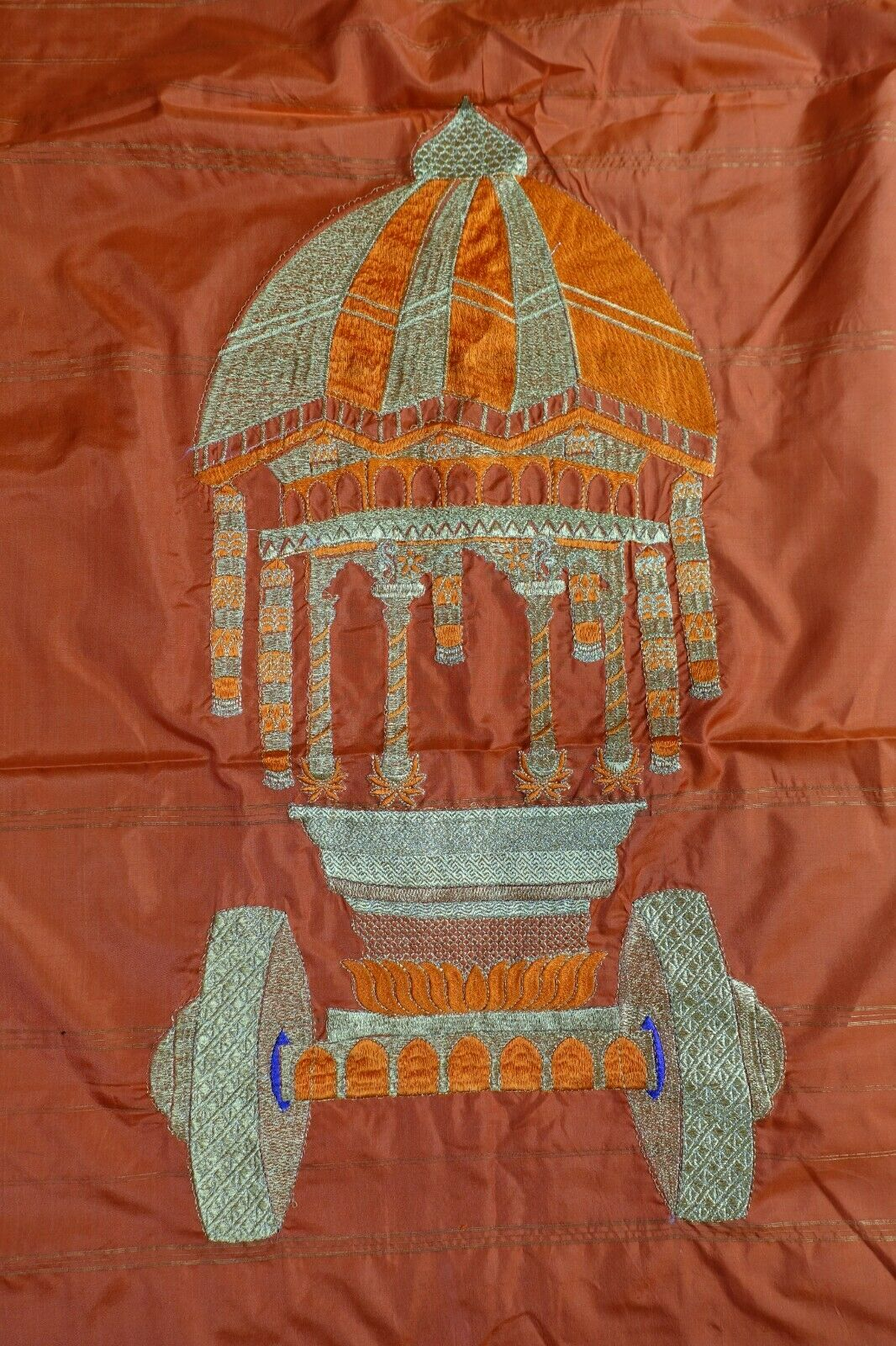 Bright orange wedding doli scene Bollywood Vintage sari saree Indian BN SKU16596