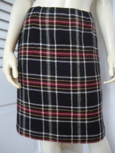 TALBOTS PETITES Skirt 6 Plaid 100% Wool Straight Lined Above Knee CLASSY