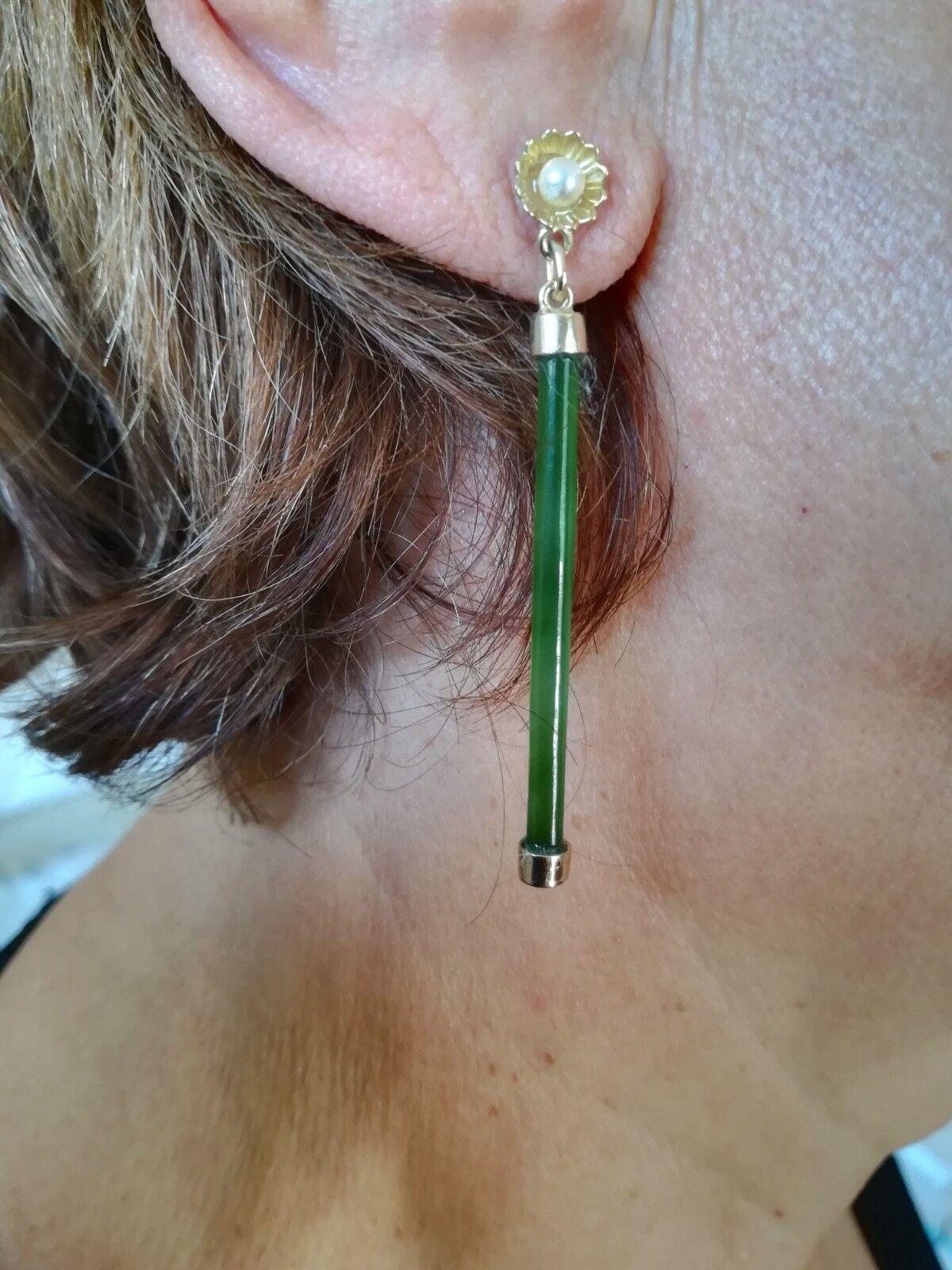 Vintage 14 k gold Green Jade Drop, Dangle Piercing Cultured Pearls Earrings