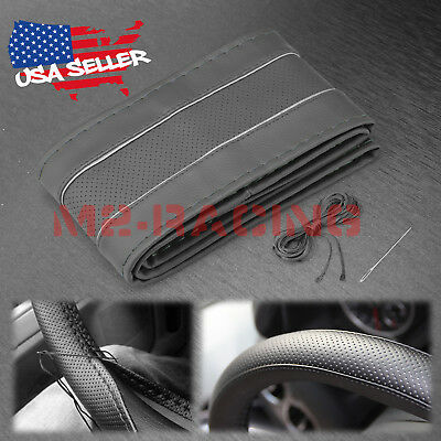 Gray Line Dot PVC Leather DIY Car Steering Wheel Cover With Needles and Thread