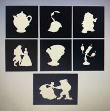 X7 Beauty & Beast Stencil Glass Craft Etched Vinyl Sticker Silhouette Disney
