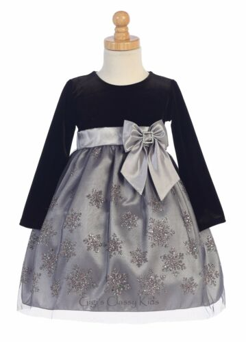 Flower Girls Black Velvet Silver Tulle Dress Christmas Holiday Baby Toddler Kids