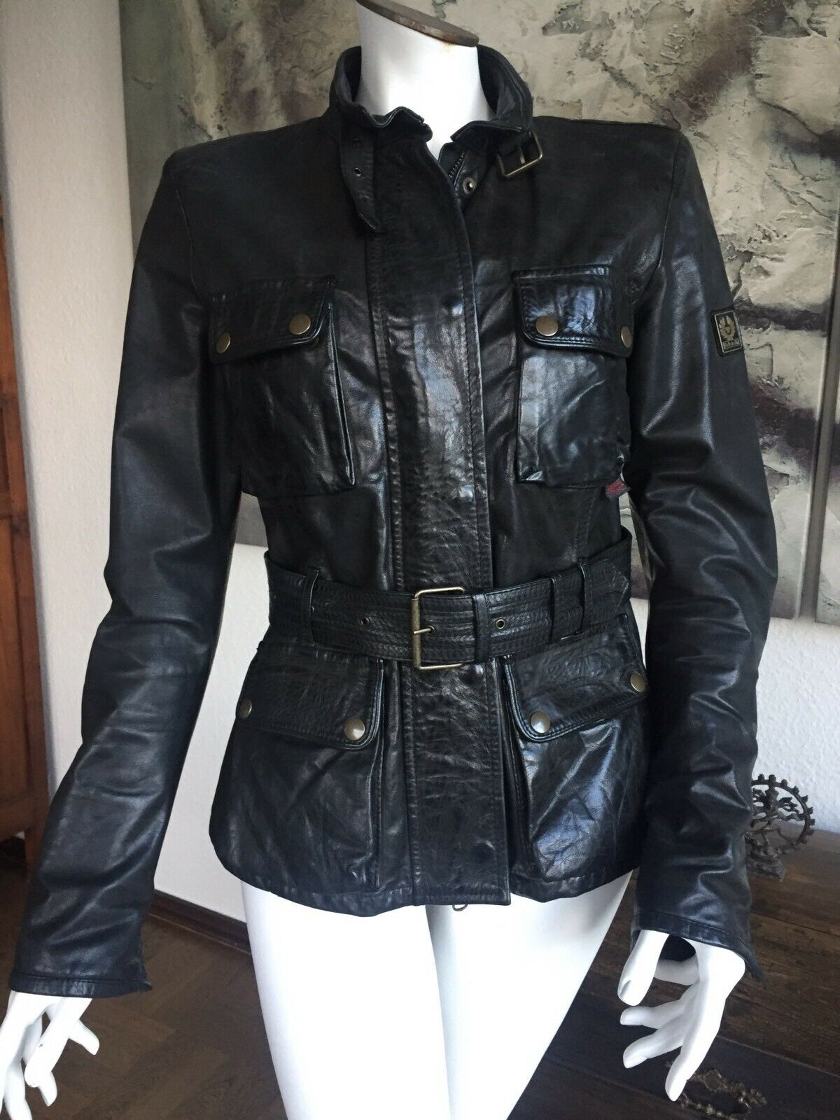 767bd7a1d33c83 BELSTAFF Lederjacke Damen Gr. 38 IT. 46 Schwarz Jacke Panther Leather Jacket