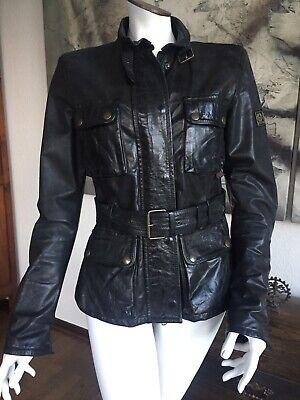 Damen Biker Rock Blogger Kunstleder Jacke Wet-Leder Look*Schwarz Braun*M L-38 40