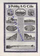 KÖLN, Werbung 1916, J. Pohlig AG  Förderbänder Kohle Bergbau Erzbergbau