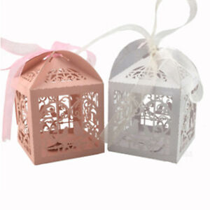 10pcs Lace Laser Cut Cake Candy Gift Boxes with Ribbon Wedding Favor Gift Boxes
